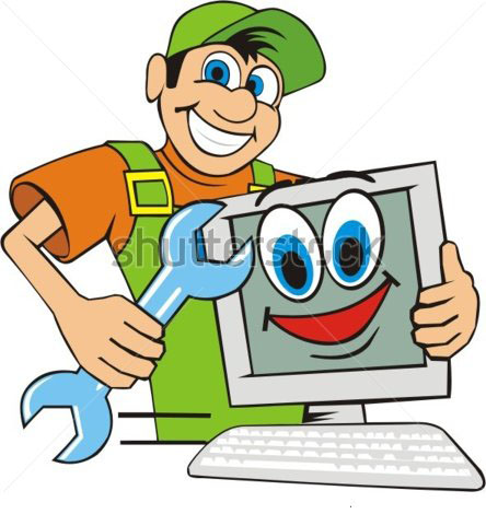 master-on-repair-computer-embraces-stock-vector-68707